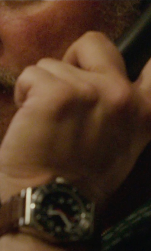 John Ortiz with AX Armani Exchange Chronograph Leather Strap Watch in Blackhat