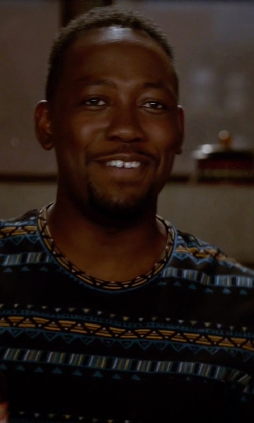 Lamorne Morris with BDG Geo Stripe Standard-Fit Pocket Tee Shirt in New Girl