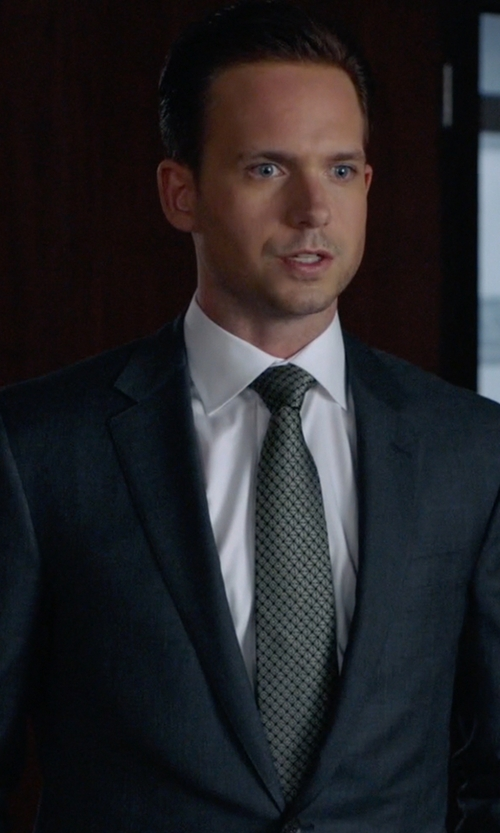 Patrick J. Adams with Brioni Geometric Print Silk Tie in Suits