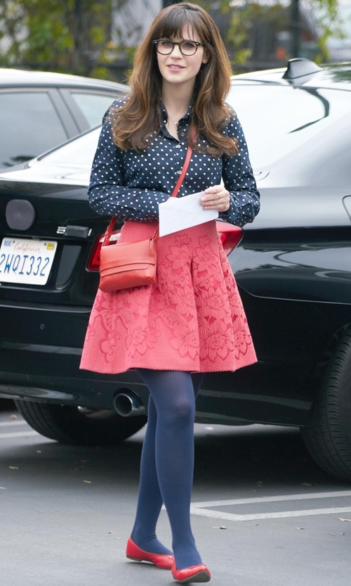 Zooey Deschanel with J. Crew Perfect Shirt In Foil Dot in New Girl