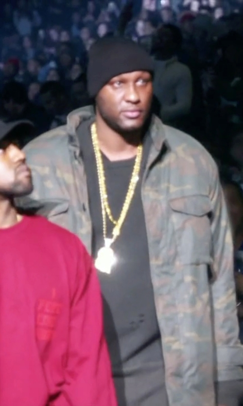 Lamar Odom with Yeezy Season 1 Brown & Green Camouflage Trenchcoat in Keeping Up With The Kardashians