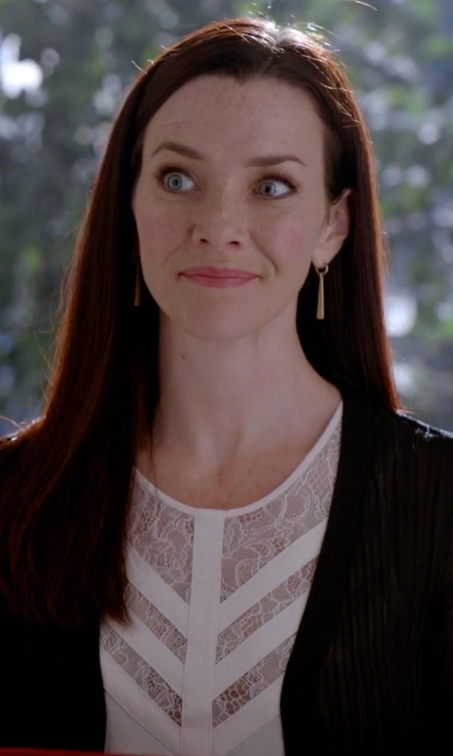 Annie Wersching with BCBGMAXAZRIA Jay Illusion Lace Neck Top in The Vampire Diaries