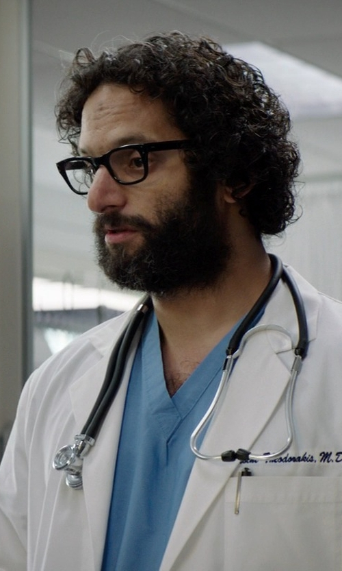 Jason Mantzoukas with U.S. Polo Assn. Men's V-Neck Scrub Top in Neighbors