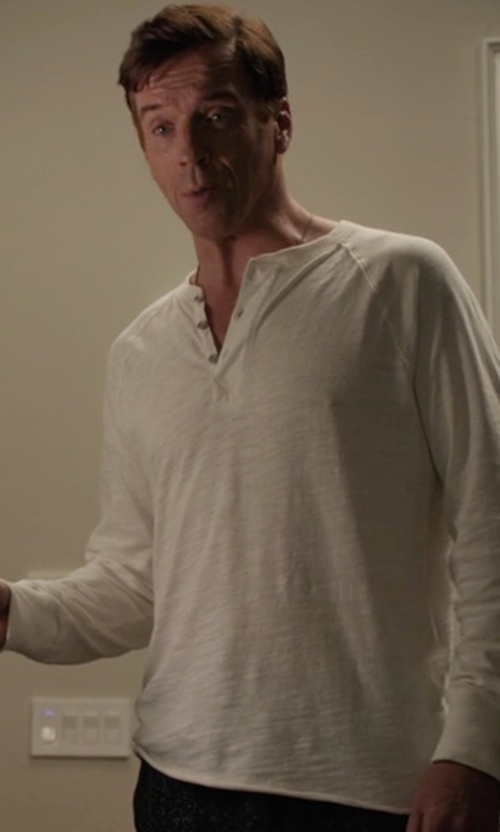 Damian Lewis with Rag & Bone Raglan Henley Shirt in Billions