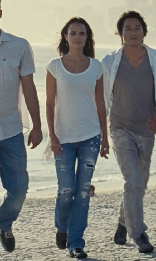 Jordana Brewster with Secret Pon-Pon Denim Pants in Fast Five