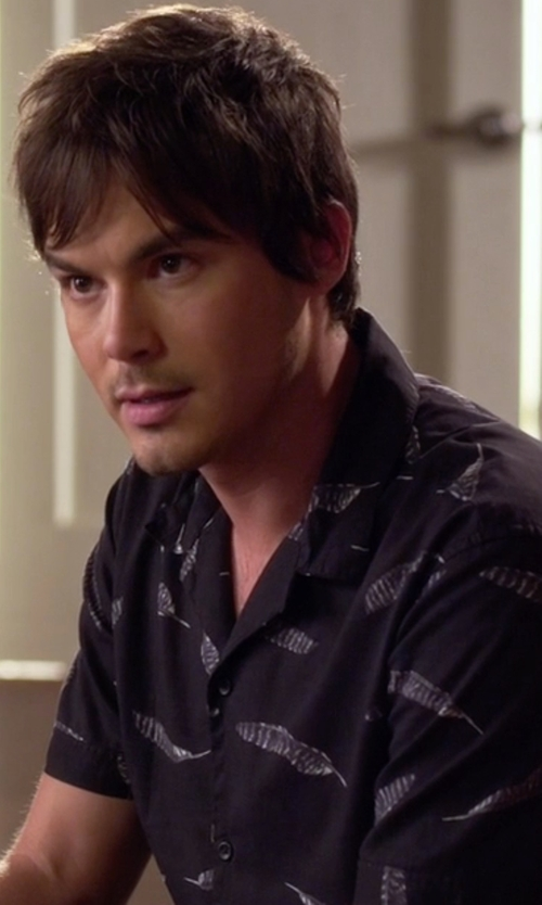 Tyler Blackburn with WHT Space Men's Feather-Print Short-Sleeve Shirt in Pretty Little Liars