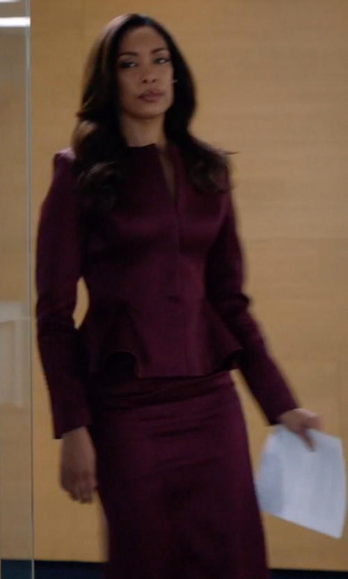 Gina Torres with Black Halo High Waisted Pencil Skirt in Suits