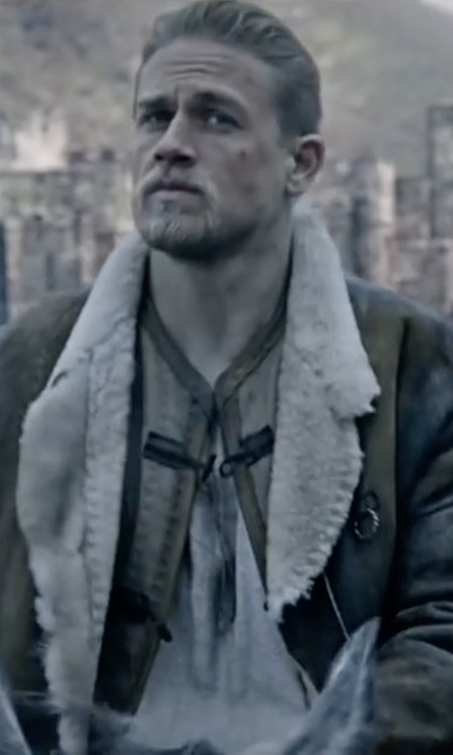 Charlie Hunnam with Loewe Shearling Coat in King Arthur: Legend of the Sword