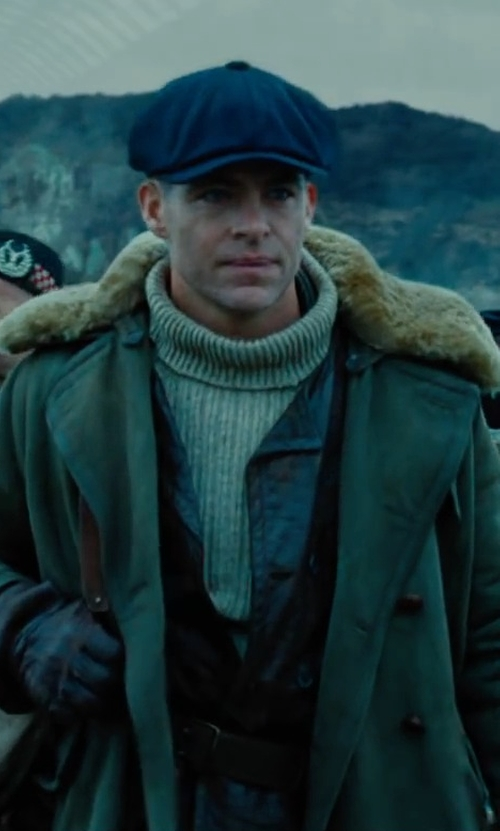 Chris Pine with Yves Salomon Classic Fur-Trimmed Parka Coat in Wonder Woman