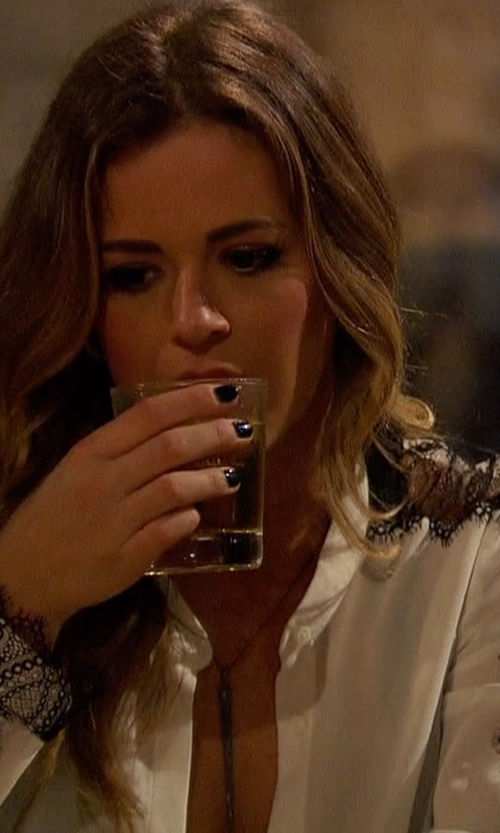 JoJo Fletcher with The Kooples Crepe and Fancy Lace Blouse in The Bachelorette