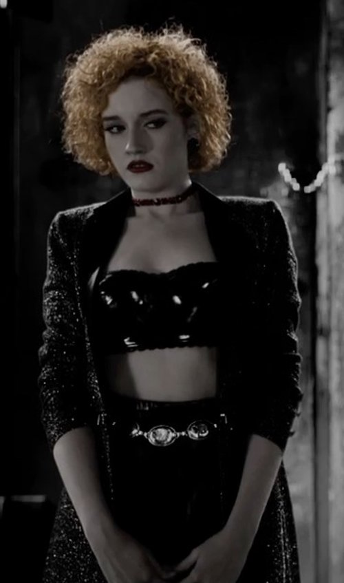 Juno Temple with Free People Throw Some Bow Crop Top in Frank Miller's Sin City: A Dame To Kill For