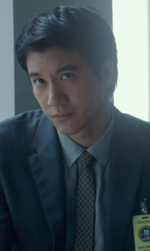 Leehom Wang with Vince Camuto Men's Bill Plaid Tie in Blackhat