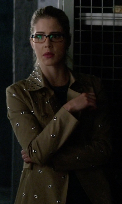 Emily Bett Rickards with Red Valentino Mackintosh Trench Coat in The Flash