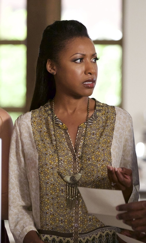 Gabrielle Dennis with Rebecca Taylor Chevron Embellished Top in Rosewood
