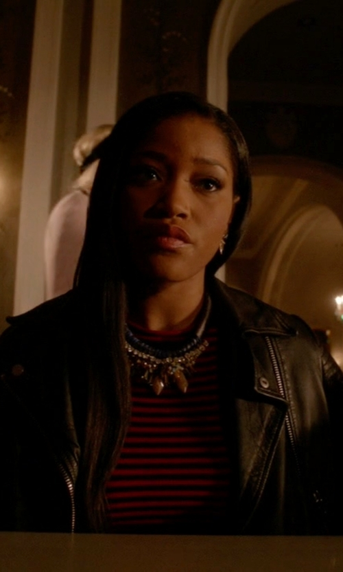 Keke Palmer with Topshop Sheepskin-Leather Biker Jacket in Scream Queens
