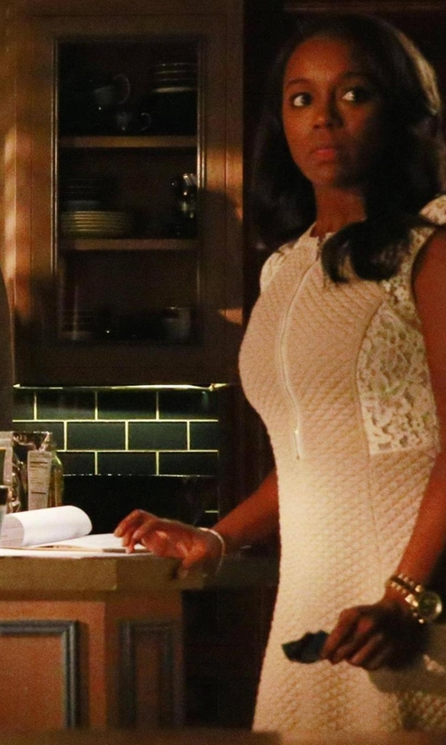 Aja Naomi King with Rebecca Taylor Sleeveless Lace Dress in How To Get Away With Murder