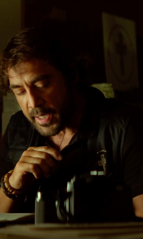 Javier Bardem with Versace Collection Pique Polo Shirt in The Gunman