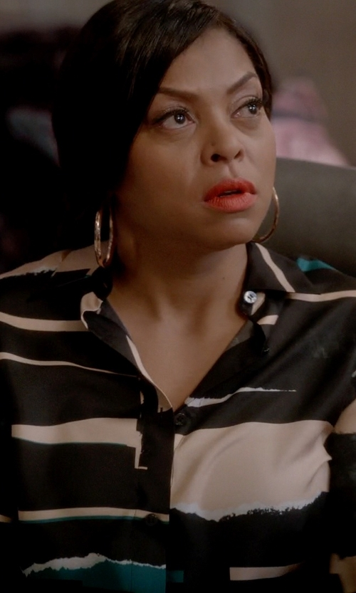 Taraji P. Henson with Maison Margiela Printed Masculine Shirt in Empire