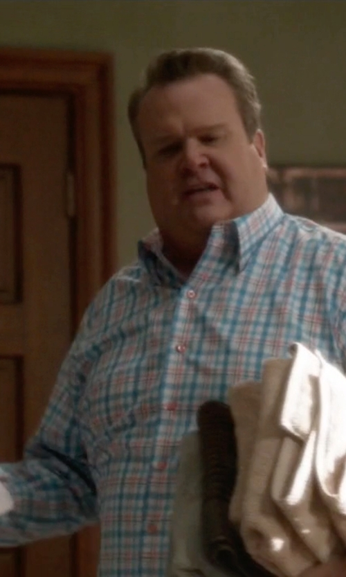 Eric Stonestreet with TailorByrd 'Island Fin' Regular Fit Plaid Sport Shirt in Modern Family