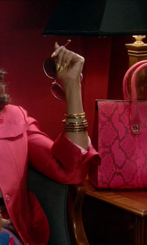 Taraji P. Henson with Jimmy Choo Riley Fluorescent Python Tote Bag in Empire