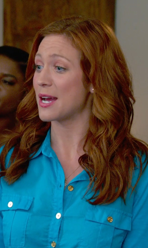 Brittany Snow with Tory Burch 'Brigitte' Military Shirt in Pitch Perfect 2