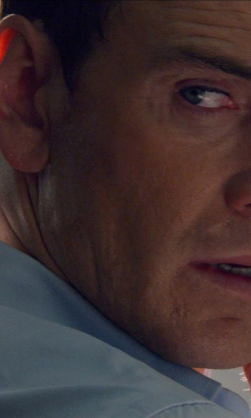 Michael Fassbender with Armani Collezioni Modern Fit Twill Woven Dress Shirt in The Counselor
