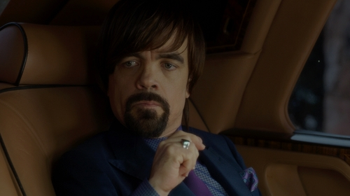 Peter Dinklage with Robert Talbott Medallion Silk Pocket Square in The Boss
