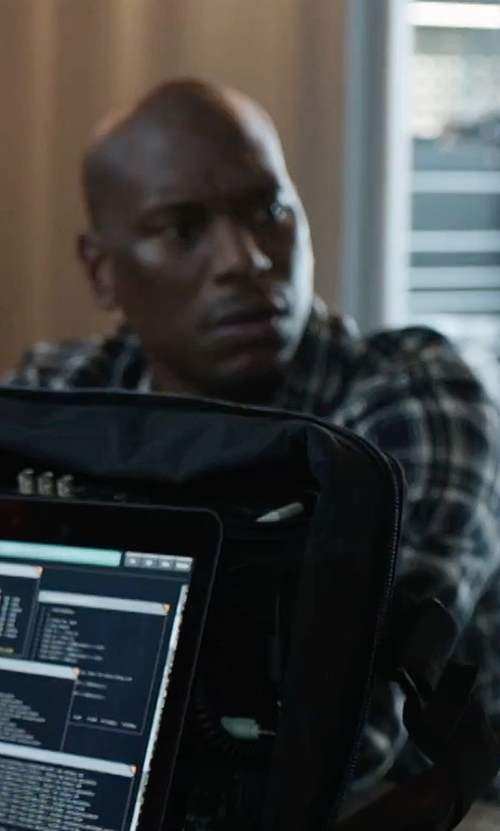 Tyrese Gibson with Native Youth Brant Plaid Shirt in The Fate of the Furious