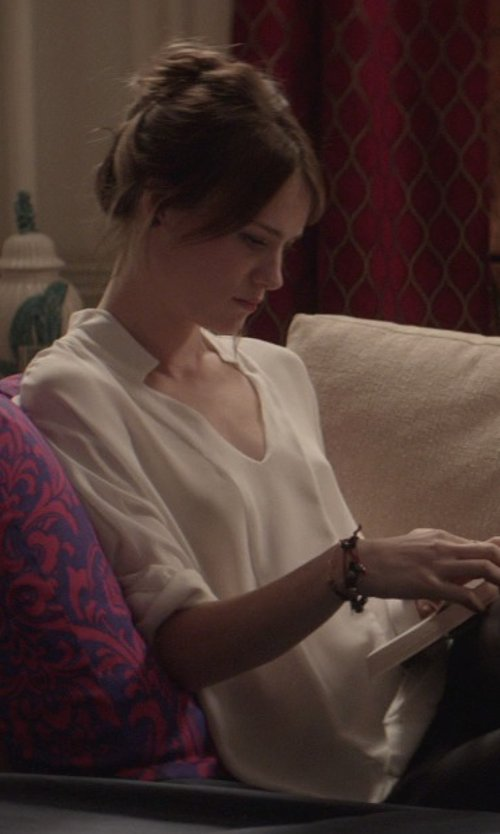 Mackenzie Davis with Phillip Lim Silk Draped Crossover Blouse in That Awkward Moment