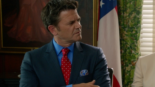 John Michael Higgins with Brooks Brothers Paisley Pocket Square in Pitch Perfect 2