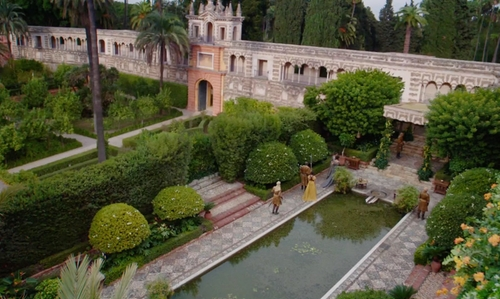 Unknown Actor with Royal Alcázar of Seville (Depicted as Water Palaces of Dorne) Patio de Banderas, Sevilla in Game of Thrones