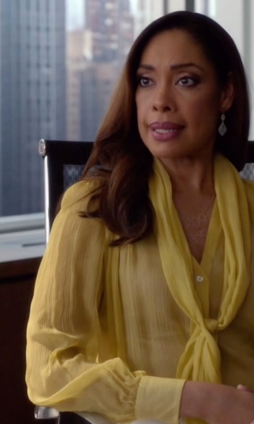 Gina Torres with L' Agence  Pleated Silk Keyhole Blouse in Suits