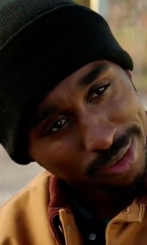 Demetrius Shipp Jr. with Goodmans Knit Cashmere Beanie in All Eyez on Me