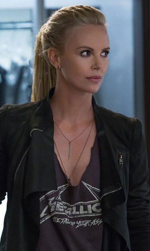 Charlize Theron with The Kooples Leather Effect Biker Jacket in The Fate of the Furious