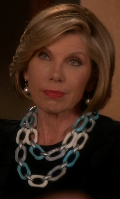 Christine Baranski with Talk Of The Walk Resin Link Choker Necklace in The Good Wife