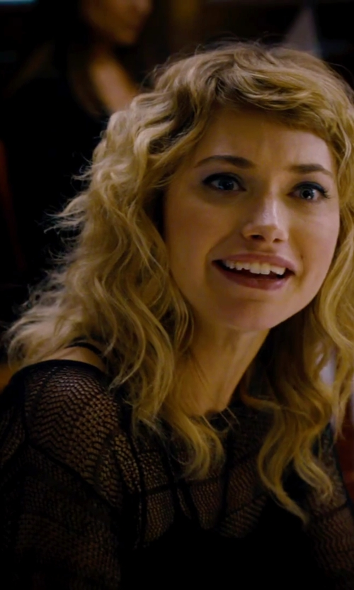Imogen Poots with Sam Edelman Long Sleeve Mesh Tee With Fringe in She's Funny That Way