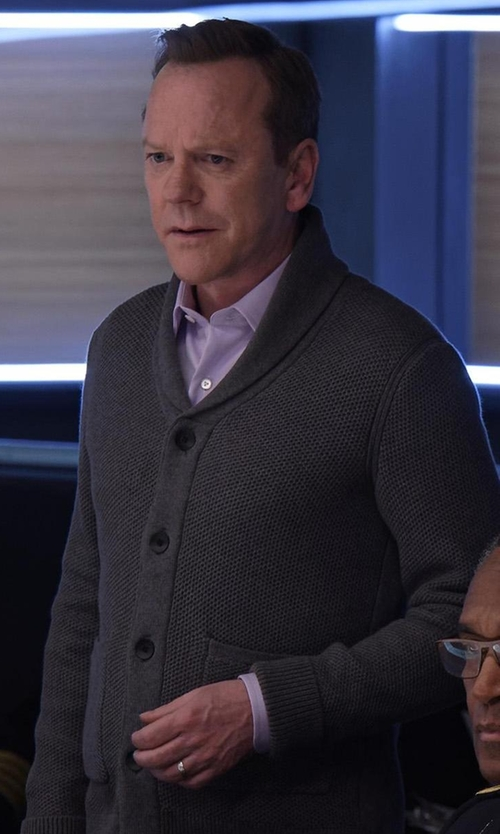 Kiefer Sutherland with Versace Button-Front Textured Dress Shirt in Designated Survivor