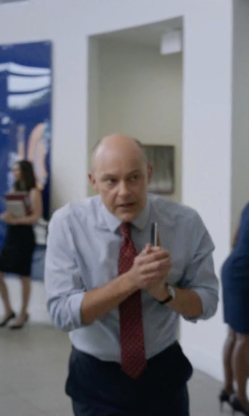 Rob Corddry with Victorinox Swiss Army 'Alliance' Round Leather Strap Watch in Ballers