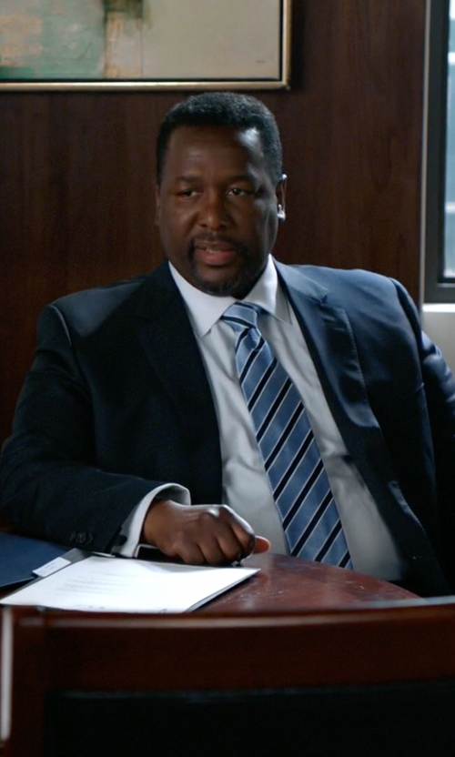 Wendell Pierce with Ermenegildo Zegna Texture-Stripe Tie in Suits