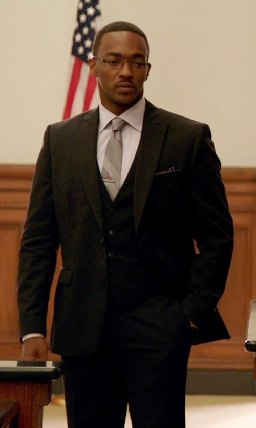Anthony Mackie with Neiman Marcus	 Dot-Print Pocket Square in Black or White