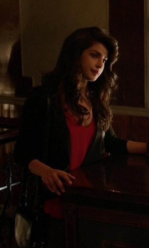 Priyanka Chopra with Michael Michael Kors Leather Blazer in Quantico