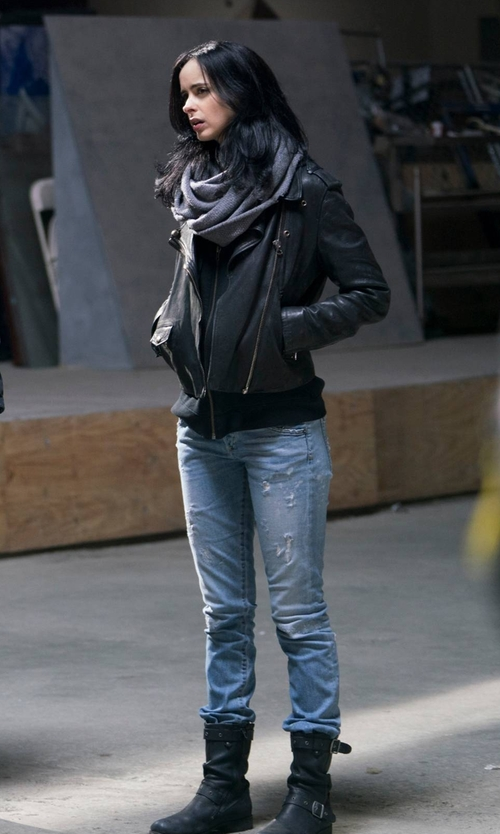 Krysten Ritter with Caterpillar Midi Boots in Marvel's The Defenders