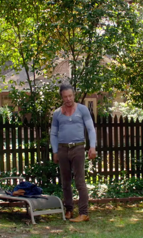 Mickey Rourke with Les Hommes V-Neck T-Shirt in Ashby