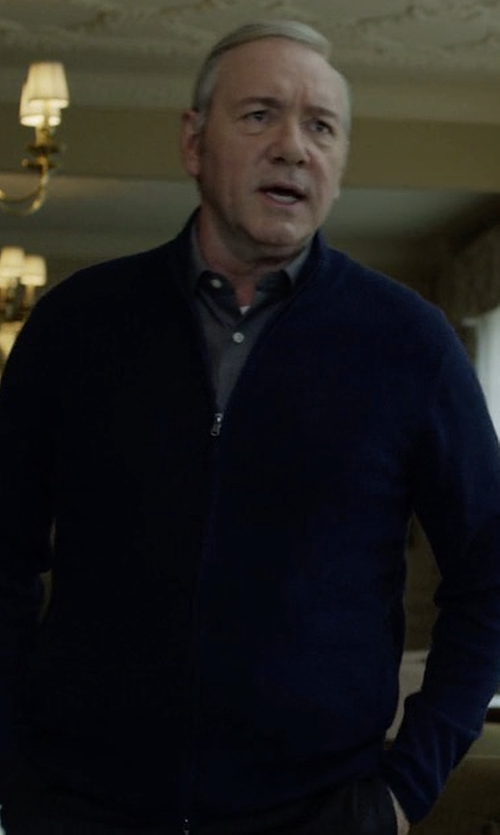 Kevin Spacey with Peter Millar Crown Soft Full-Zip Sweater in House of Cards