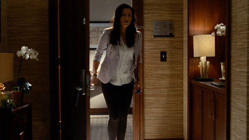 Katie McGrath with Armani 5 Pocket Trousers in Stretch Cotton in Jurassic World