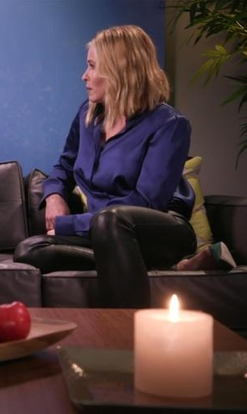 Chelsea Handler with Frame Denim Silk Blouse in Chelsea