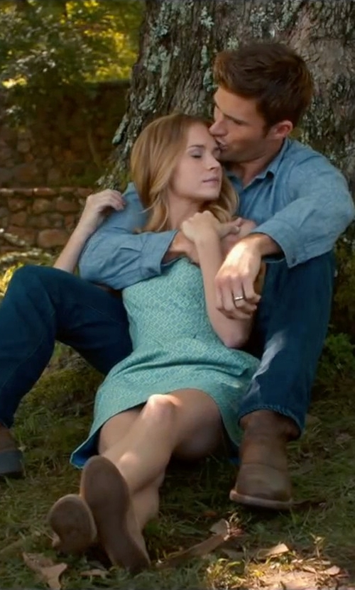 Britt Robertson with Frye Women's Janet Tie Loafer in The Longest Ride