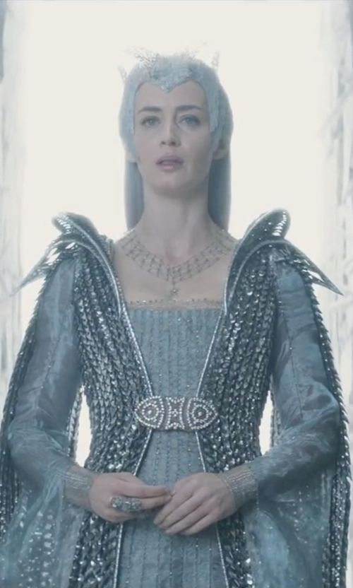 Emily Blunt with Colleen Atwood (Costume Designer) Custom Made 'Freya' Ice Queen Royal Dress in The Huntsman: Winter's War