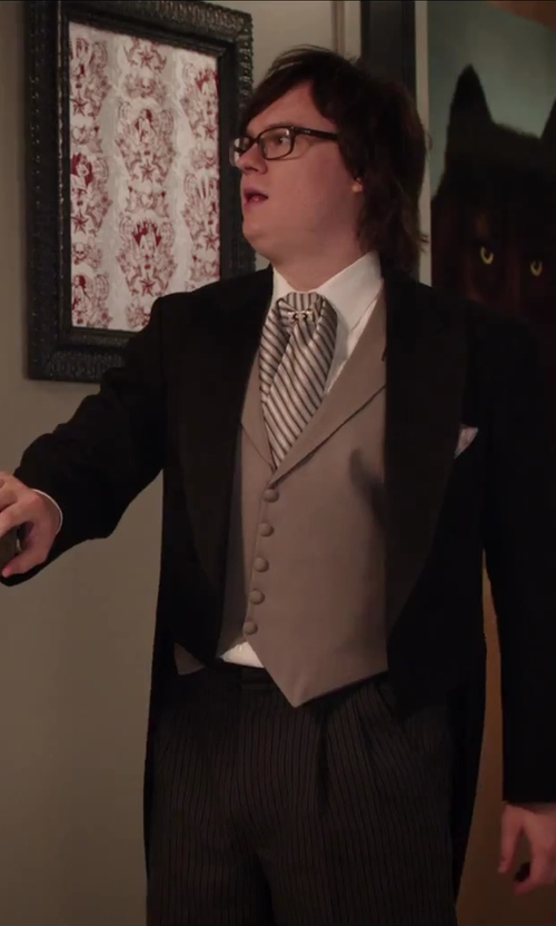 Clark Duke with Mens Wearhouse Versini Black Tailcoat Modern Fit Tuxedo in Hot Tub Time Machine 2