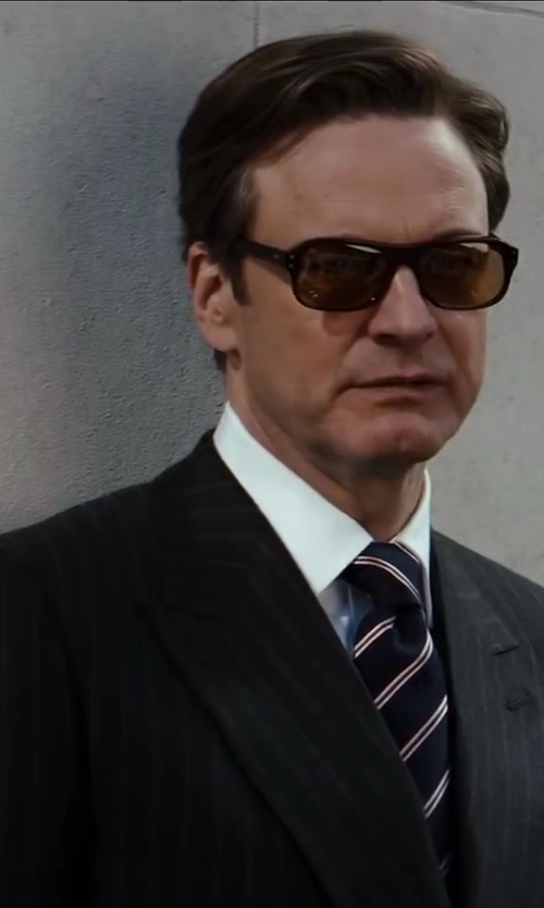 Colin Firth with Drake Striped Woven-Silk Tie in Kingsman: The Secret Service